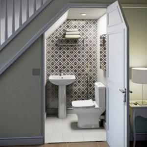Elite Living Remodeling Under the Stairs Bathroom